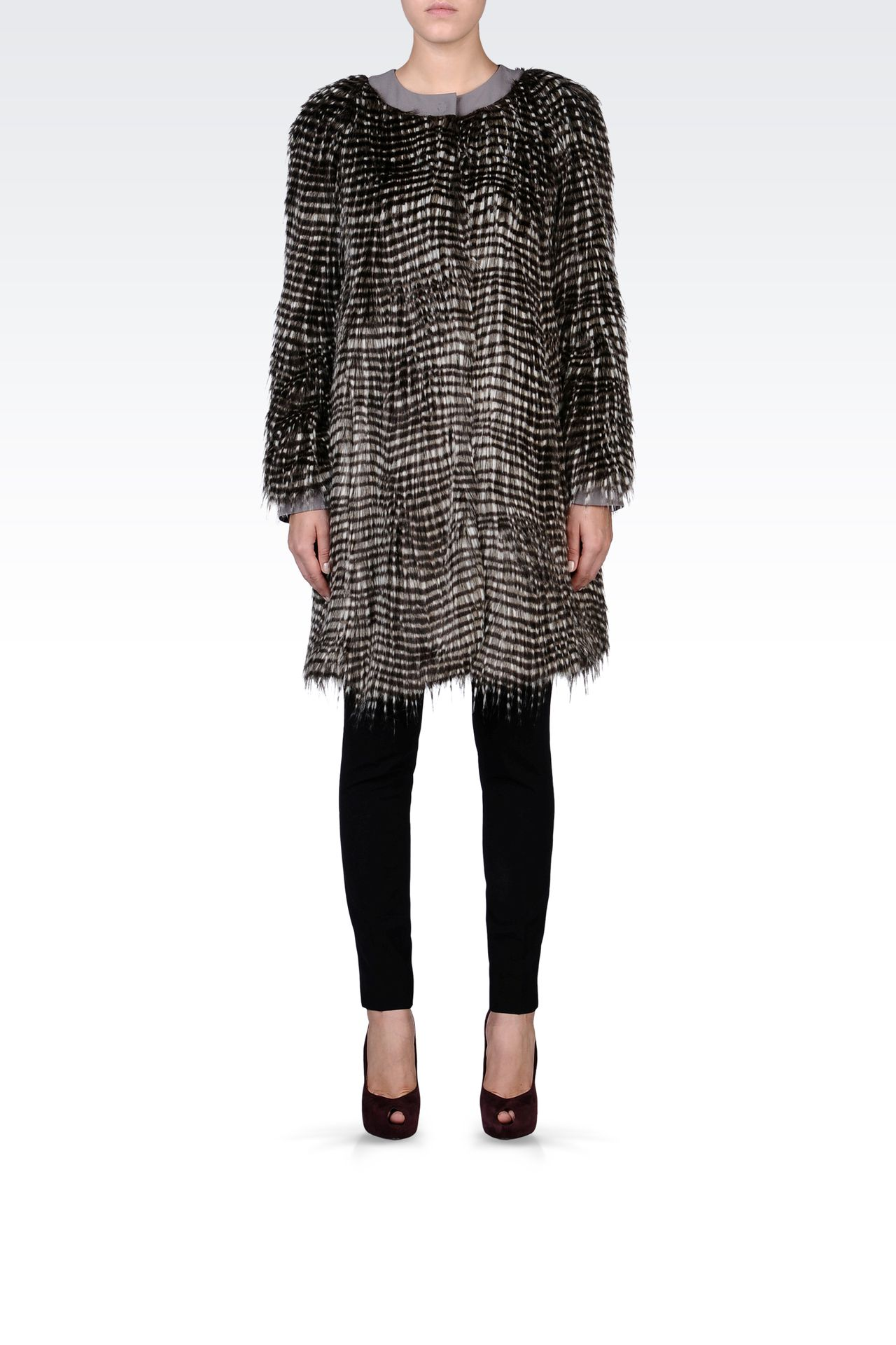 CREW NECK COAT IN ECO FUR: Fur Women by Armani - 0