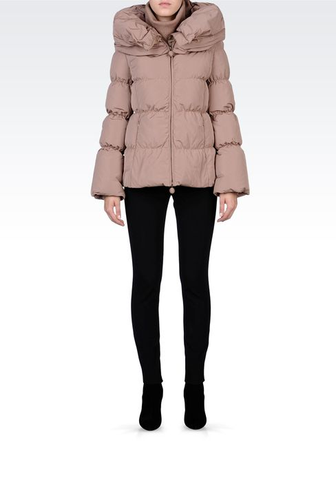 SHORT DOWN JACKET WITH COWL NECK: Down coats Women by Armani - 1