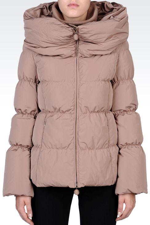 SHORT DOWN JACKET WITH COWL NECK: Down coats Women by Armani - 2