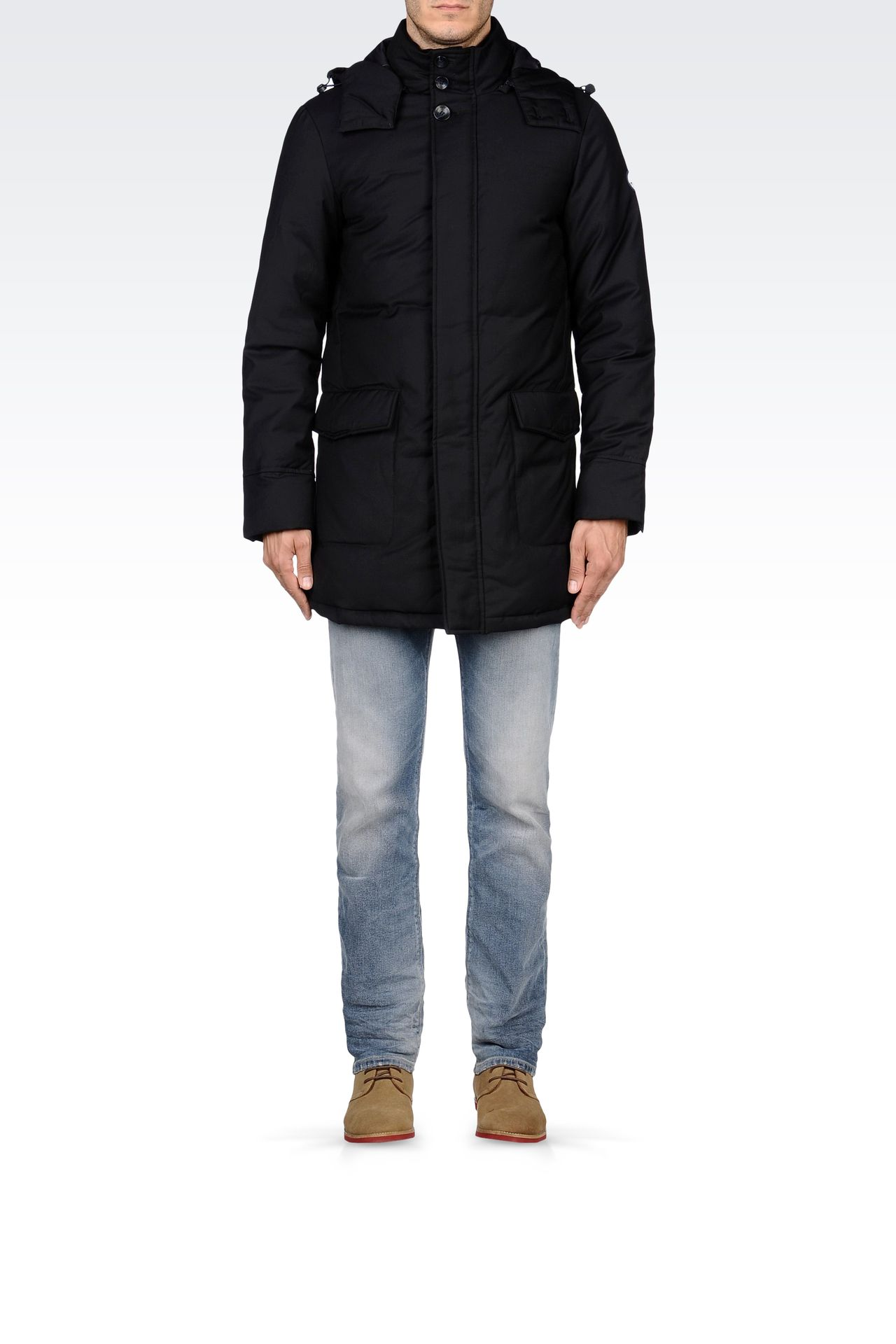 PADDED JACKET WITH DETACHABLE HOOD: Down coats Men by Armani - 0