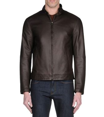 ZZEGNA: Leather outerwear Black - Dark brown - 41387021OQ