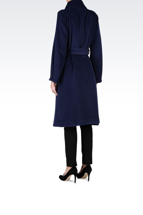 WOOL CASHGORA VELOUR TRENCH: Double-breasted coats Women by Armani - 3