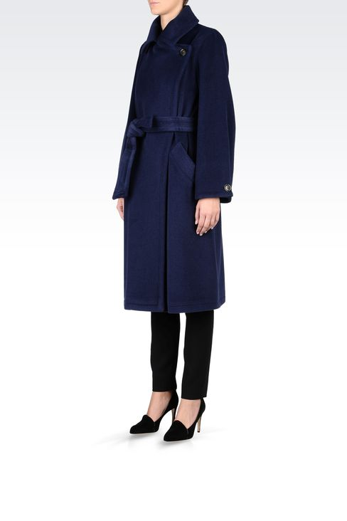 WOOL CASHGORA VELOUR TRENCH: Double-breasted coats Women by Armani - 2