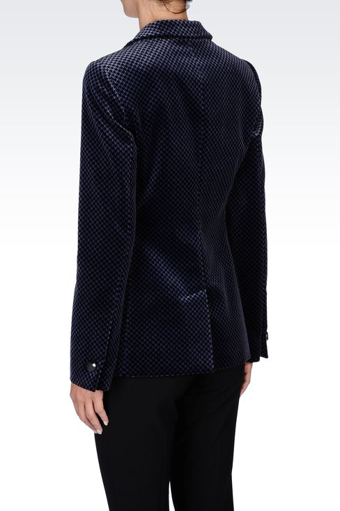 JACKET IN HOUNDSTOOTH VELVET: One button jackets Women by Armani - 3