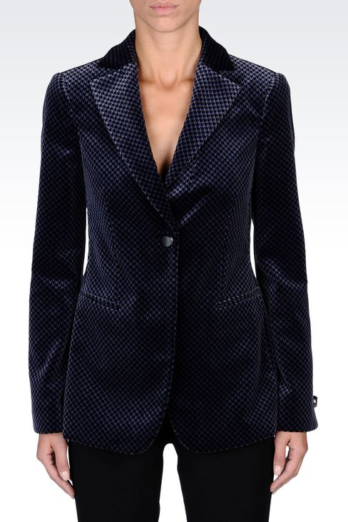 JACKET IN HOUNDSTOOTH VELVET: One button jackets Women by Armani - 2
