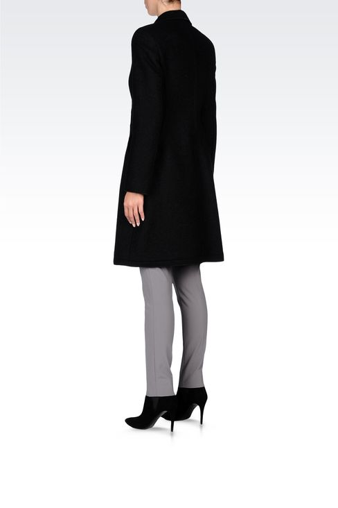 DOUBLE-BREASTED COAT IN BOILED WOOL: Double-breasted coats Women by Armani - 3