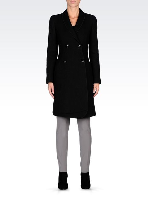 DOUBLE-BREASTED COAT IN BOILED WOOL: Double-breasted coats Women by Armani - 1