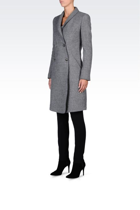 DOUBLE-BREASTED COAT IN BOILED WOOL: Double-breasted coats Women by Armani - 2