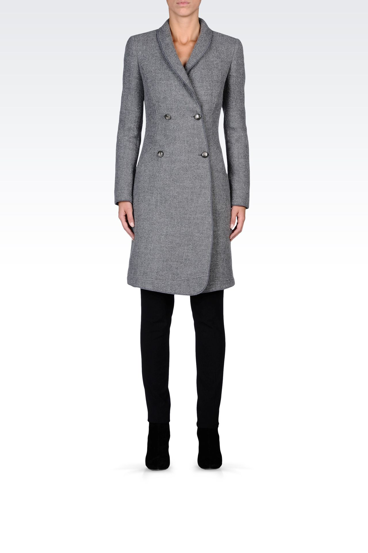 DOUBLE-BREASTED COAT IN BOILED WOOL: Double-breasted coats Women by Armani - 0
