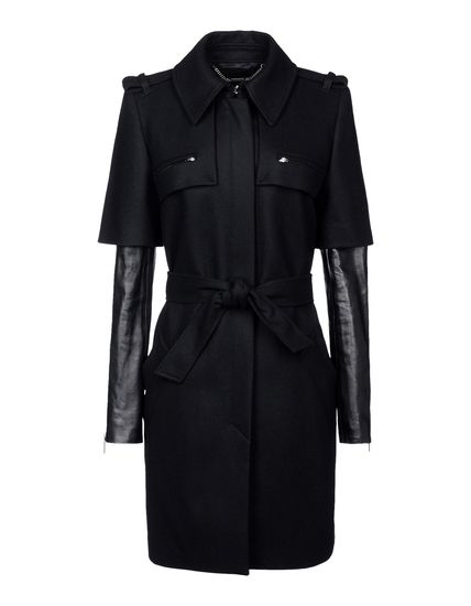 Leather-sleeved overcoat