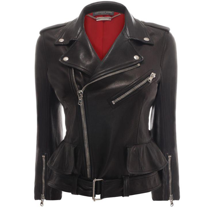 Alexander McQueen, Cropped Leather Biker Jacket