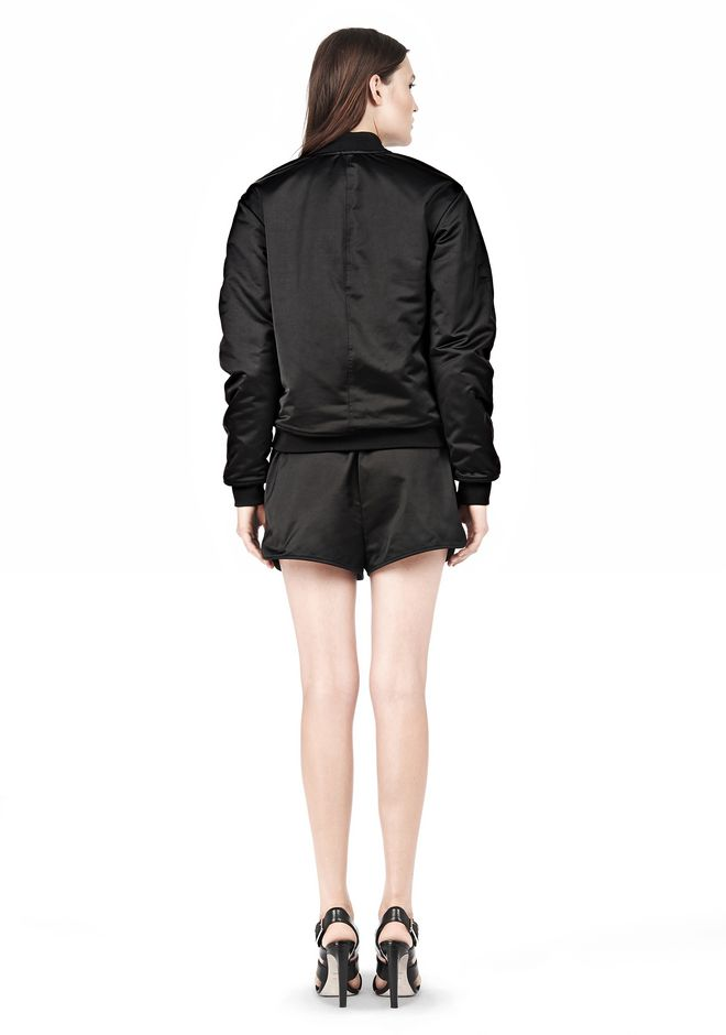 T by ALEXANDER WANG TECHNICAL MEMORY SATIN BOMBER JACKET BOMBER Adult 12_n_r