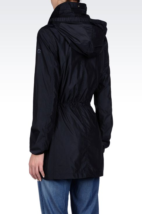 LONG PEA COAT WITH DETACHABLE HOOD: Dust jackets Women by Armani - 3