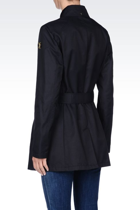 SHORT TRENCH IN COTTON GABARDINE: Single-breasted coats Women by Armani - 3