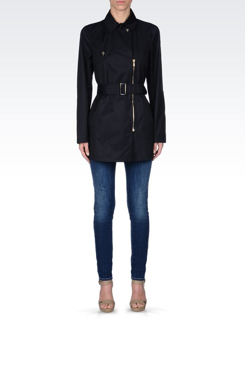 SHORT TRENCH IN COTTON GABARDINE: Single-breasted coats Women by Armani - 1