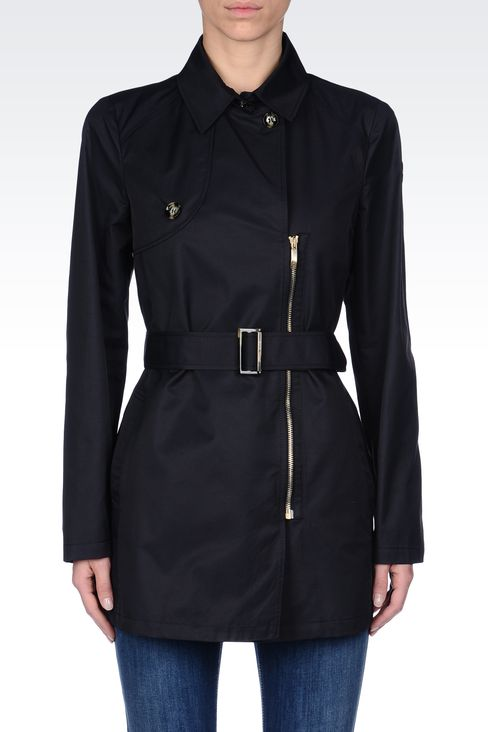 SHORT TRENCH IN COTTON GABARDINE: Single-breasted coats Women by Armani - 2