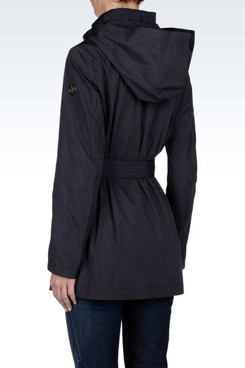 FULL ZIP LONG PEA COAT WITH HOOD: Dust jackets Women by Armani - 3