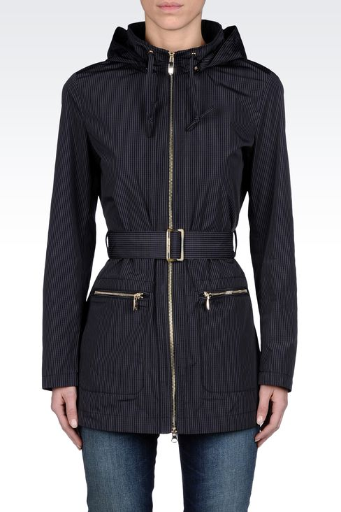 FULL ZIP LONG PEA COAT WITH HOOD: Dust jackets Women by Armani - 2