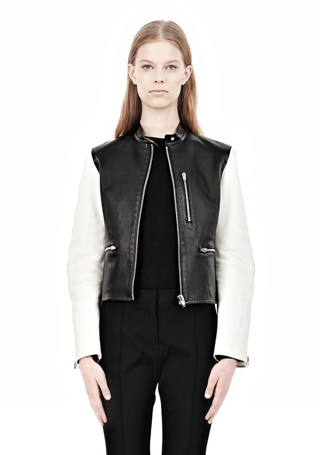 ZIP UP MOTO JACKET WITH CONTRAST SLEEVES