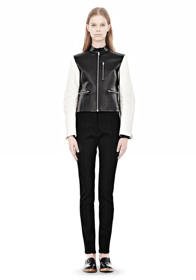 ALEXANDER WANG ZIP UP MOTO JACKET WITH CONTRAST SLEEVES