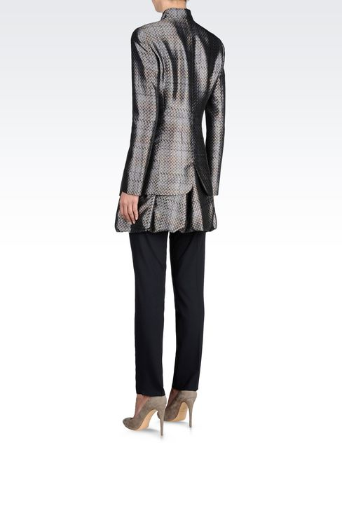 FULL ZIP COAT IN PRINTED MIKADO: Single-breasted coats Women by Armani - 3