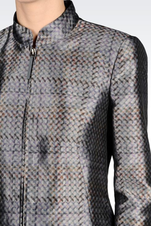 FULL ZIP COAT IN PRINTED MIKADO: Single-breasted coats Women by Armani - 4
