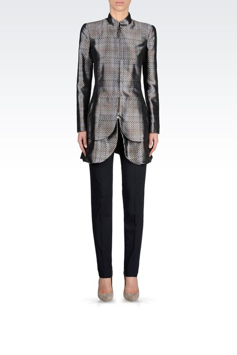 FULL ZIP COAT IN PRINTED MIKADO: Single-breasted coats Women by Armani - 1
