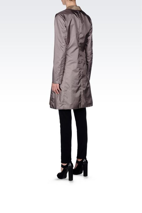 DOUBLE-BREASTED REVERSIBLE COAT IN IRIDESCENT NYLON: Double-breasted coats Women by Armani - 3