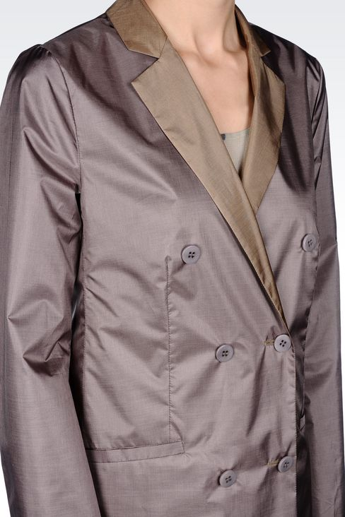 DOUBLE-BREASTED REVERSIBLE COAT IN IRIDESCENT NYLON: Double-breasted coats Women by Armani - 4