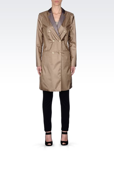 DOUBLE-BREASTED REVERSIBLE COAT IN IRIDESCENT NYLON: Double-breasted coats Women by Armani - 1