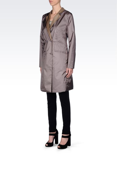 DOUBLE-BREASTED REVERSIBLE COAT IN IRIDESCENT NYLON: Double-breasted coats Women by Armani - 2