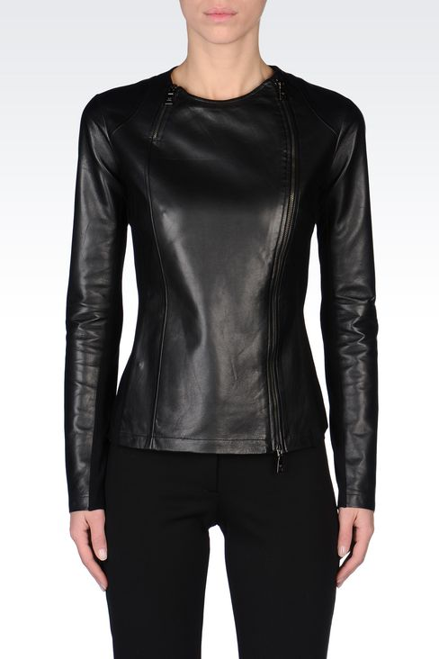 ROUND NECK LEATHER JACKET WITH ASYMMETRIC FASTENING: Light leather jackets Women by Armani - 3