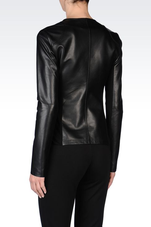 ROUND NECK LEATHER JACKET WITH ASYMMETRIC FASTENING: Light leather jackets Women by Armani - 4