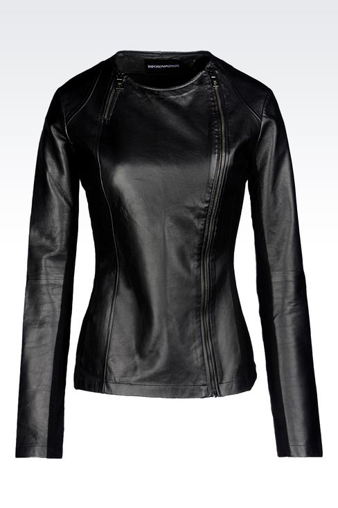 ROUND NECK LEATHER JACKET WITH ASYMMETRIC FASTENING: Light leather jackets Women by Armani - 1