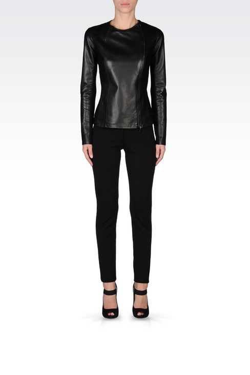 ROUND NECK LEATHER JACKET WITH ASYMMETRIC FASTENING: Light leather jackets Women by Armani - 2