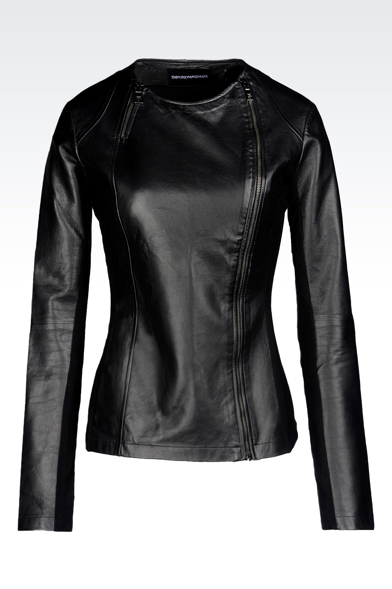 ROUND NECK LEATHER JACKET WITH ASYMMETRIC FASTENING: Light leather jackets Women by Armani - 0