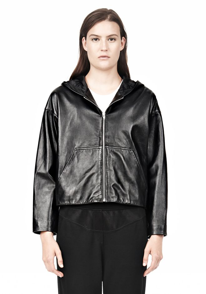 LIGHTWEIGHT LEATHER HOODED JACKET