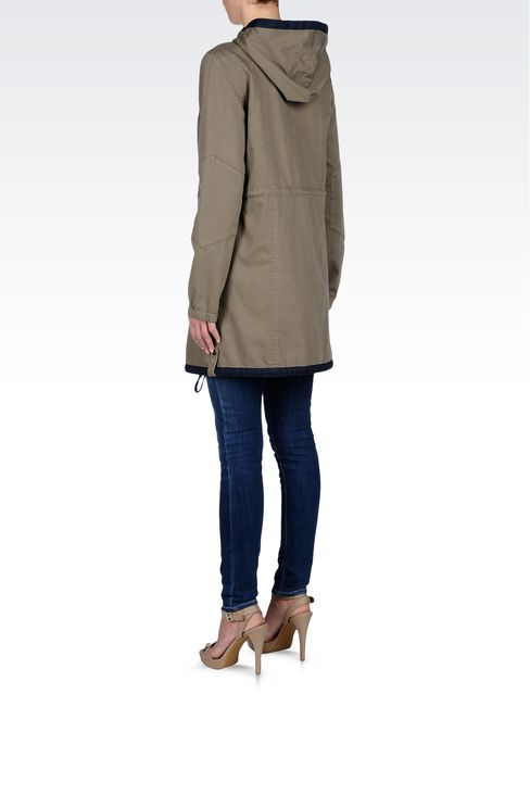 HOODED PARKA IN COTTON: Parkas Women by Armani - 3