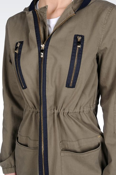 HOODED PARKA IN COTTON: Parkas Women by Armani - 4