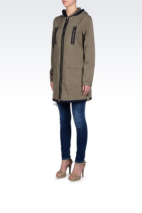 HOODED PARKA IN COTTON: Parkas Women by Armani - 2