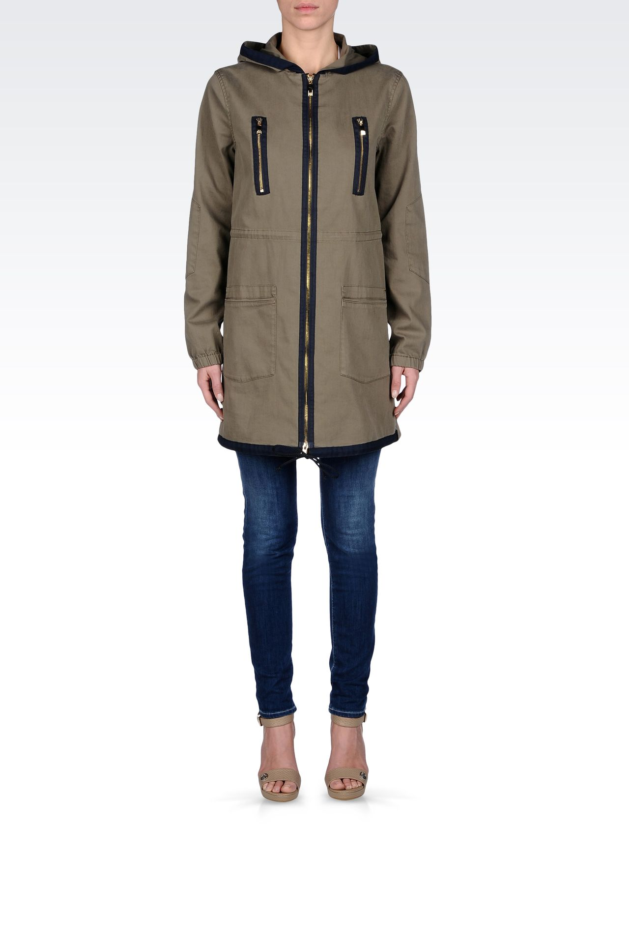 HOODED PARKA IN COTTON: Parkas Women by Armani - 0