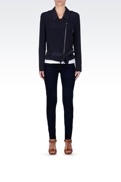 JACKET IN TECHNICAL FABRIC WITH ASYMMETRIC FASTENING: Bomber jackets Women by Armani - 1