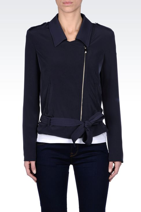JACKET IN TECHNICAL FABRIC WITH ASYMMETRIC FASTENING: Bomber jackets Women by Armani - 2