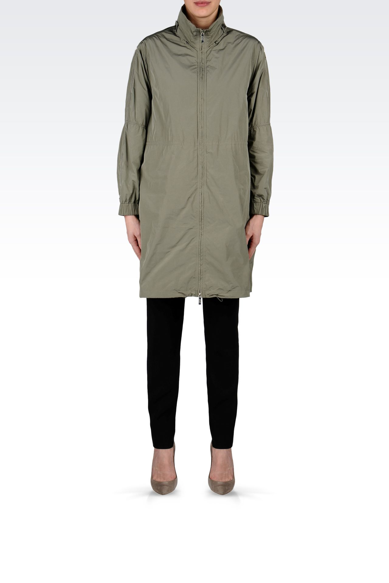 PARKA WITH ZIP DETAIL TO SLEEVE: Single-breasted coats Women by Armani - 0