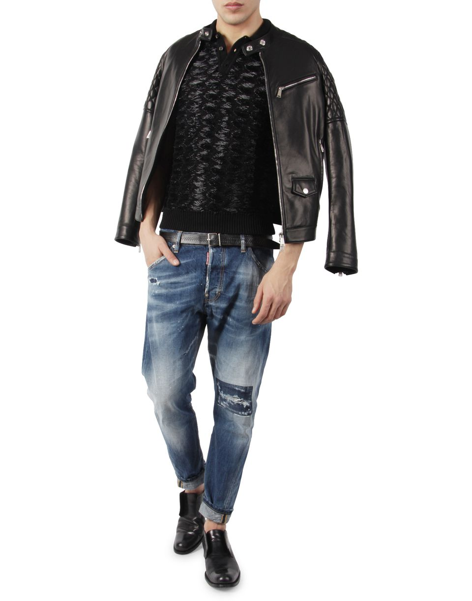Dsquared2 Leather Biker Jacket Leather Outerwear Men
