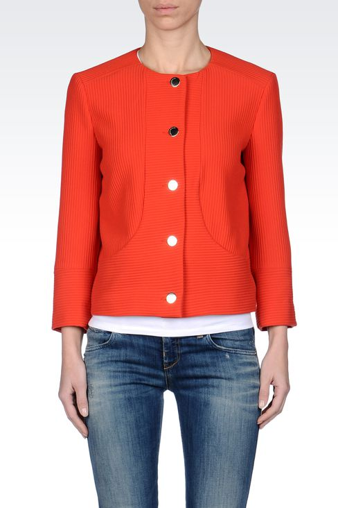 SINGLE-BREASTED ROUND NECK STRIPED JACKET: 3/4 sleeve jackets Women by Armani - 2