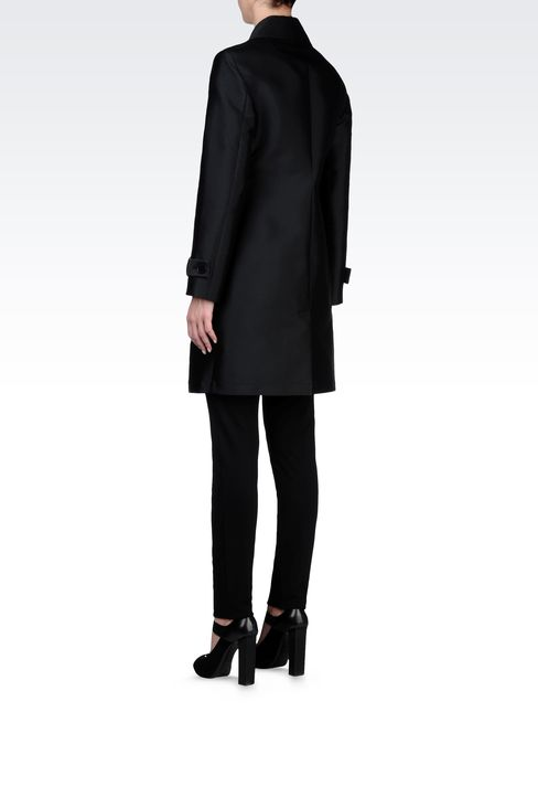 DOUBLE-BREASTED COAT IN TECHNICAL TWILL: Double-breasted coats Women by Armani - 3