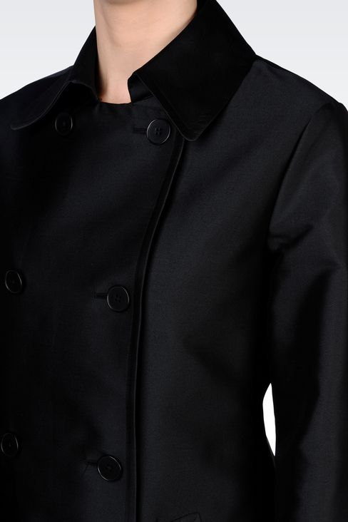 DOUBLE-BREASTED COAT IN TECHNICAL TWILL: Double-breasted coats Women by Armani - 4