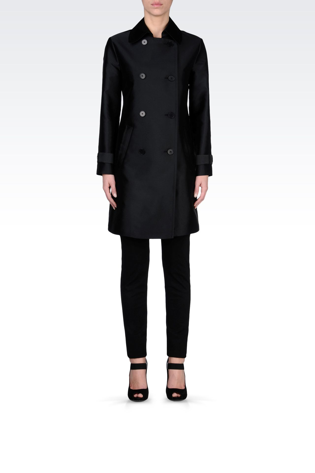 DOUBLE-BREASTED COAT IN TECHNICAL TWILL: Double-breasted coats Women by Armani - 0