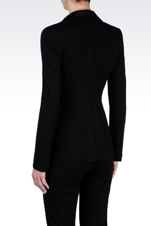 TUXEDO JACKET WITH SATIN LAPELS: Two buttons jackets Women by Armani - 3